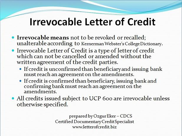 Letter Of Credit. Documentary Letter Of Credit. Standby Letter Of